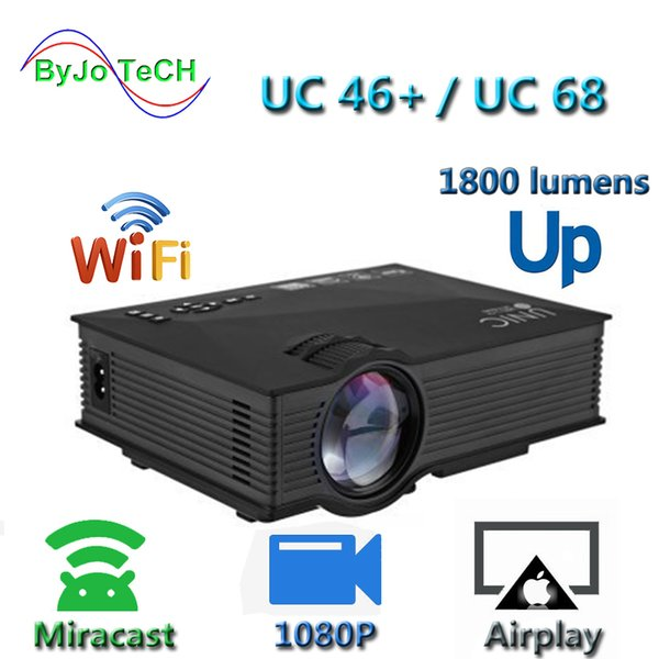 best selling New Upgrade UNIC UC68 multimedia Home Theatre 1800 lumens led projector with HD 1080p Better than UC46 Support Miracast Airplay