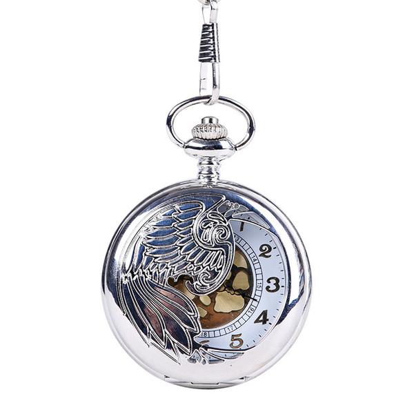 2019 New Fullmetal Alchemist Pocket Watch Silver Smooth Quartz Pocket Watch Fob Chain Best Gift Men Women Fashion Clock Necklace