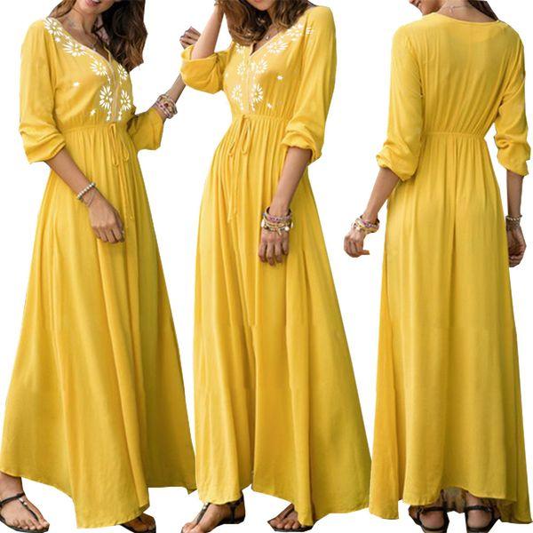 New style women summer dresses sexy V-neck high high waist print big swing skirt autumn and spring maxi dress woman clothes