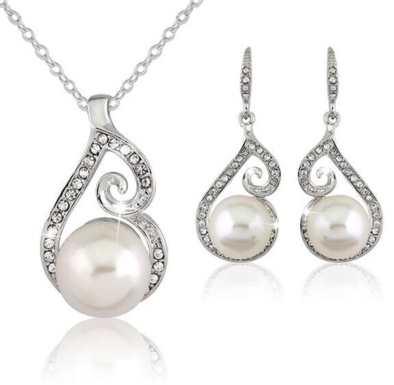 DHL Women Crystal Pearl Pendant Necklace Earring Jewelry Set Diamond Silver Chain Necklace Jewelry Party Favor