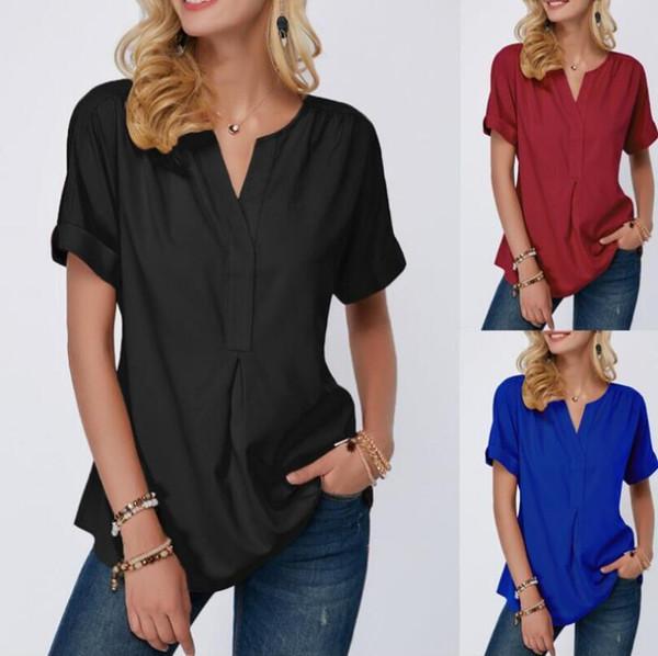 modelos de explosión camisa estilo europeo y americano V-cuello de la camisa de las mujeres de manga corta de color sólido de 2019 del verano nuevas mujeres E89