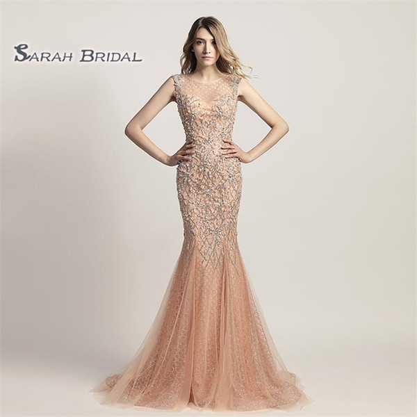 Luxury Crystal Mermaid Pearls Peach Prom Party Dresses 2019 Sexy Elegant Backless Vestidos De Festa Evening Occasion Sleeveless Gown LX445