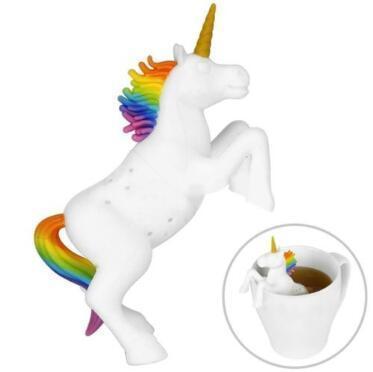 Unicorn Tea Infuser Loose Leaf Strainer Silicone White Unicorn Horse Tea Filter Unicorn Tea Bag Coffee Tools CCA11115 50pcs