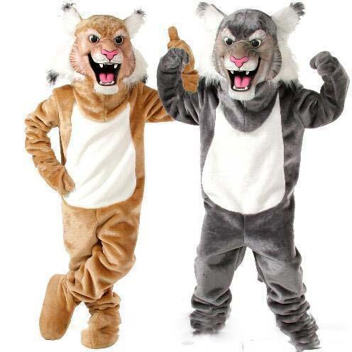 2019 High quality New Profession Wildcat Bobcat Mascot Mascot Costumes Halloween Cartoon Adult Size Grey Tiger Fancy Party Dress