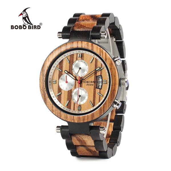 BOBO BIRD Relojes de pulsera de estilo coreano Reloj cronógrafo Hombres Día Fecha Reloj de madera Saat de lujo Compras en línea