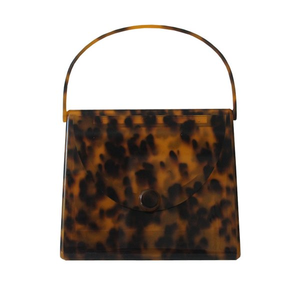 New Brand 2018 Women Acrylic handbags Fashion Colorful Leopard print Square Day Clutch day Bags Totes Acrylic Purse Handle Bag