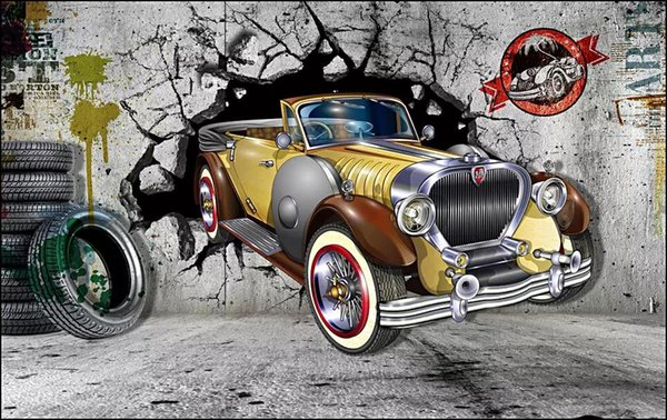 3d wallpaper custom photo Retro car broken wall background Industrial living room home decor 3d wall murals wallpaper for walls 3 d