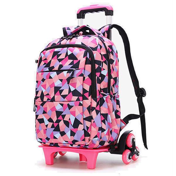 2019 New Removable Children School Bags Waterproof For Girls Trolley Backpack Kids Wheeled Bag Bookbag Travel Luggage Mochilas Y19051701