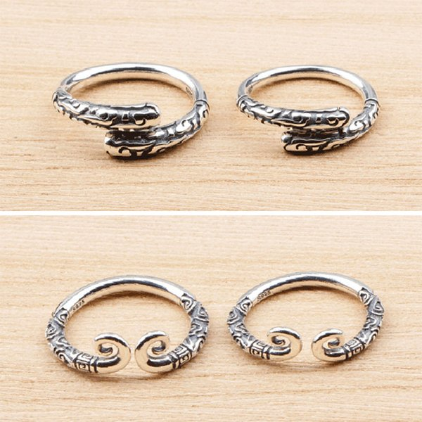 925 sterling silver ring hipster personality couples rings Wu Kong Jingu Stick auspicious cloud for a lifetime love