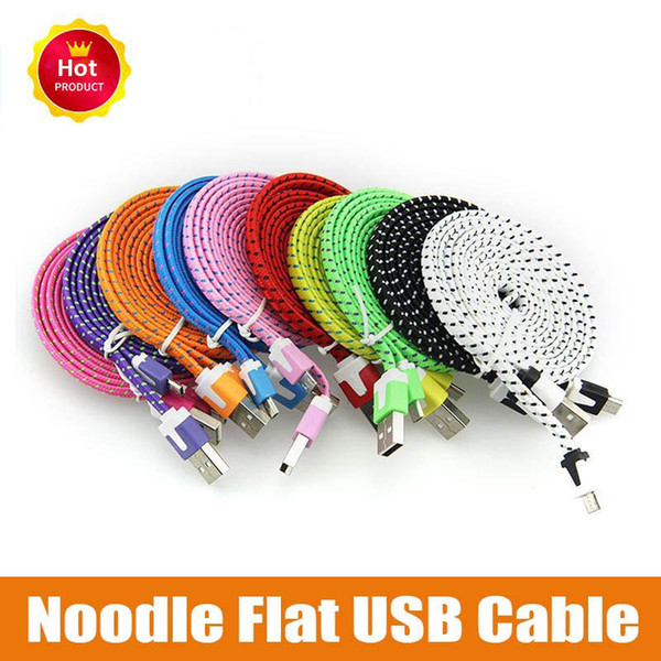 10FT 6ft 3FT Noodle Flat Braid Charging Cord 10 Color Sync Fabric Micro Wire USB Data Woven Cable Line Samsung S6 S7 EDGE