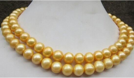 FREE SHIPPING ++ 35 inch 10-11 mm genuine south sea golden pearl necklace