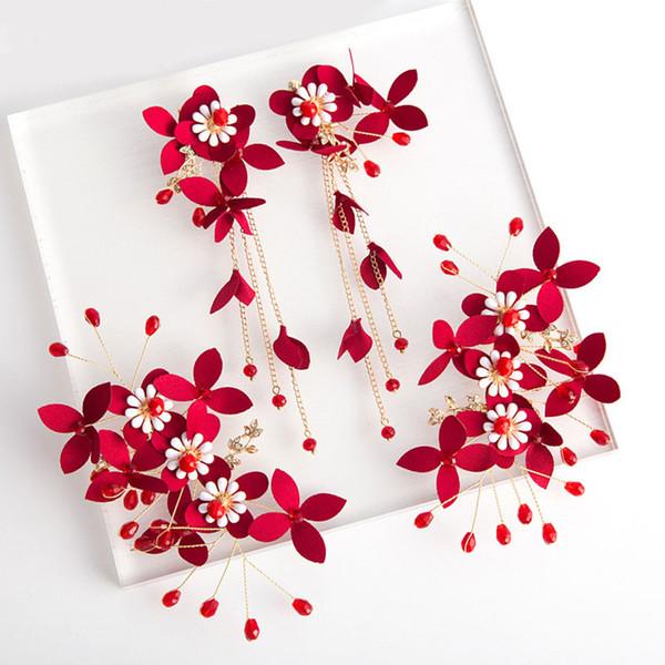 Red Vintage Noiva Grampos de Cabelo Moda Tecido Flor Mulheres Presilhas Criativas Handmade Ear Clips Brinco Casamento Barrettes Brinco Set Jóias