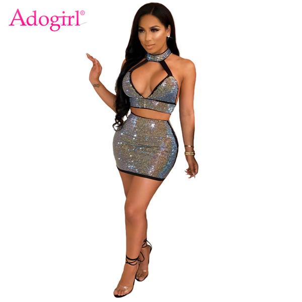 Adogirl Mujeres Diamantes Conjunto de dos piezas Vestido Profundo Escote en V Sin mangas con espalda abierta Halter Crop Top + Bodycon Mini Falda Trajes del Club Q190416