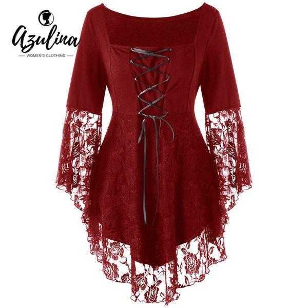 Azulina Gothic Blouses Shirts Women Plus Size Square Collar Flare Sleeve Lace Hem Ladies Tops Black Blouse Blusas Woman Clothes Q190402
