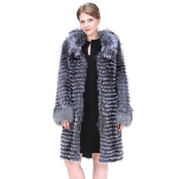 Women Natural Fox Fur Coat 2018 Fashion England Style Winter Thick Warm Real Silver Fox Fur Overcoat Extra Long Lady Coat