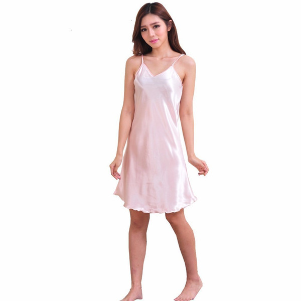 Vestido sin mangas de las señoras de Femme pijama trajes atractivos de las señoras de seda satinada Noche camisones cuello en V para las mujeres más el tamaño del camisón del camisón