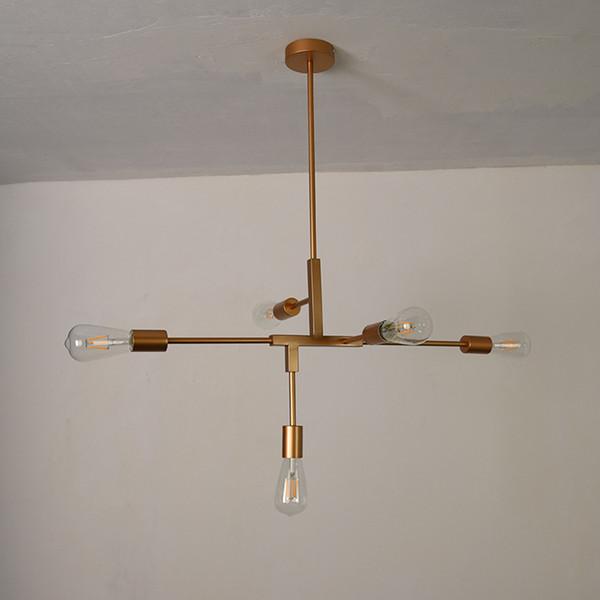 Moderno color dorado elegante 78 cm de ancho 5 luces lámpara colgante de metal E27 bombilla accesorios de iluminación lámparas de interior para el comedor salón dormitorio