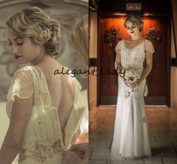 Vintage ispirato abiti da sposa grande Gatsby 2019 lusso scintillante di cristallo in rilievo manica manica Hippie paese nuziale abito da sposa