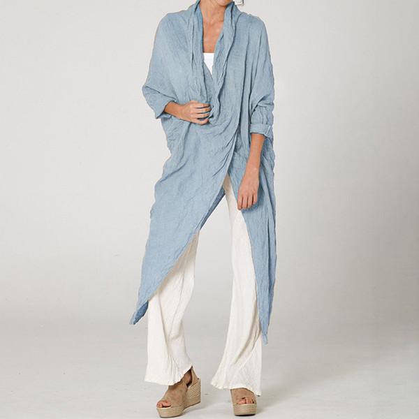 Blusa para mujer Bluzki Damskie Tallas grandes Irregular Lino Casual Manga larga Cuello redondo Blusa Moda Chemisier Femme Blusas para mujer