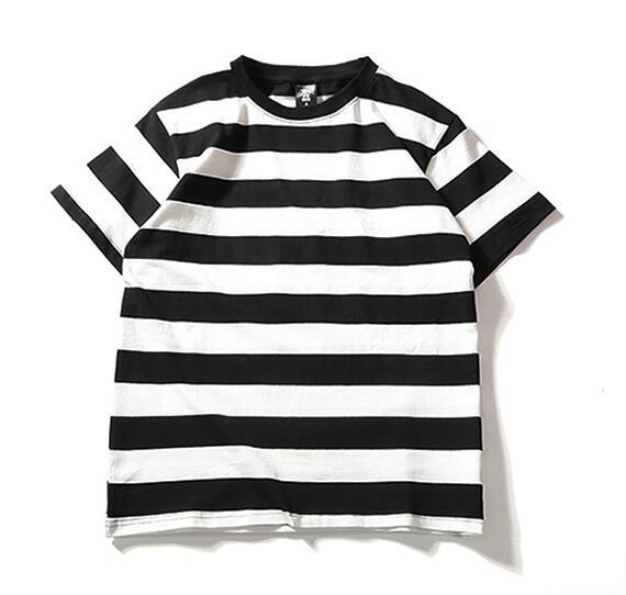 Summer street striped short-sleeved T-shirt simple loose men and women couple short-sleeved T-shirt comfortable casual T-shirt