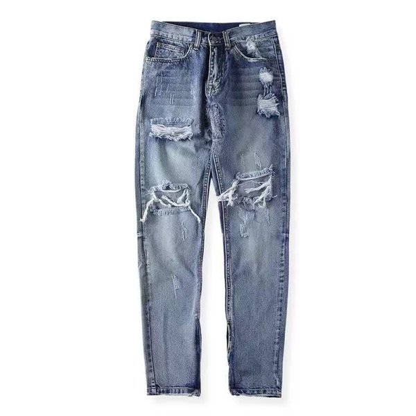 Fear Of God Famous Brand Clothing Men Hole Jeans Men's Fashion American Stars With Street Jeans Size 29-36
