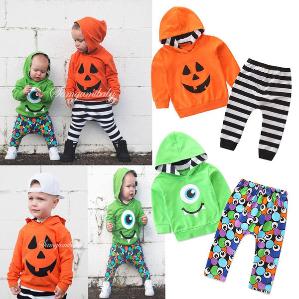 Baby boys designer clothing set long sleeve boy hooded jumpers+striped full printed pants 2pcs clothes suit kids boys halloween outfits