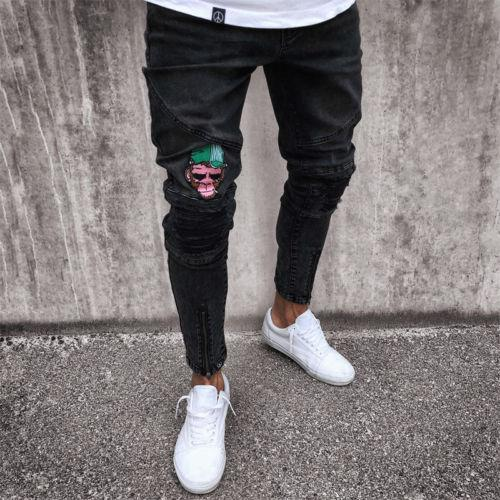 NEW Mens Skinny Jeans Ripped Slim fit Stretch Denim Distress Frayed Biker Jeans