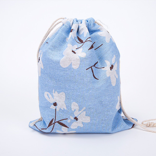 Square Linen storage bag Drawstring Tote Storage Bag Organizer For Underwear shoe container travel