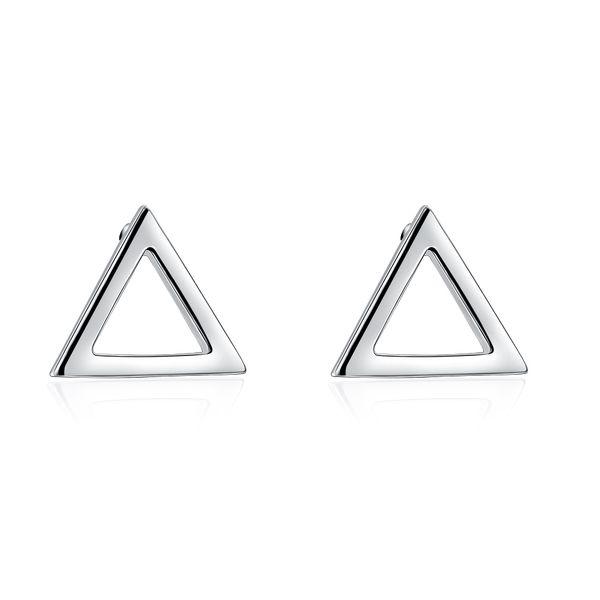 Livraison gratuite tendance tendance boucles d'oreilles triangle stud boucles d'oreilles standard en argent sterling bijoux femmes