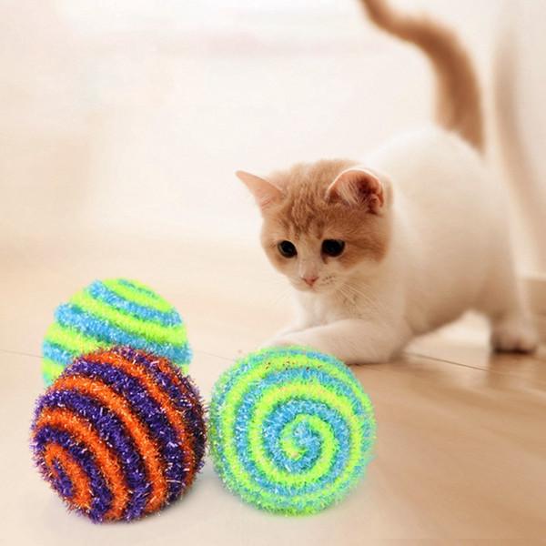 1 Pcs Elastic Rop Multicolored Random Cat Ball Toy for Pet Cat Funny Boredom Training