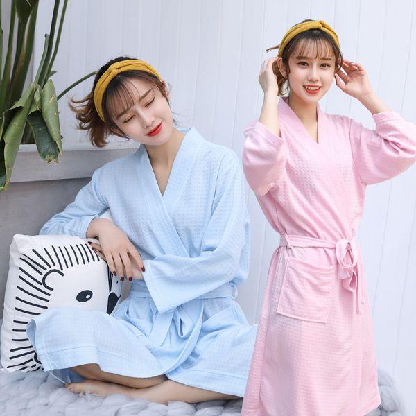 Womens roupão waffle casais robe pijamas sleepwear 2019 primavera verão plus size nightwear sexy Casa conjunto rosa doce