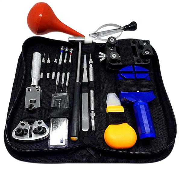 Wholesale-16PCs / Set Kit de herramientas de reparación de relojes profesionales Relojero removedor de pines Martillo Alicates Abridor Ajustador Universal Watch Tool