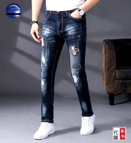 2019 высокое качество моды новый стиль бренда мужская джинсовая джинсовая вышивка bee брюки отверстия джинсы молния Мужские брюки Брюки