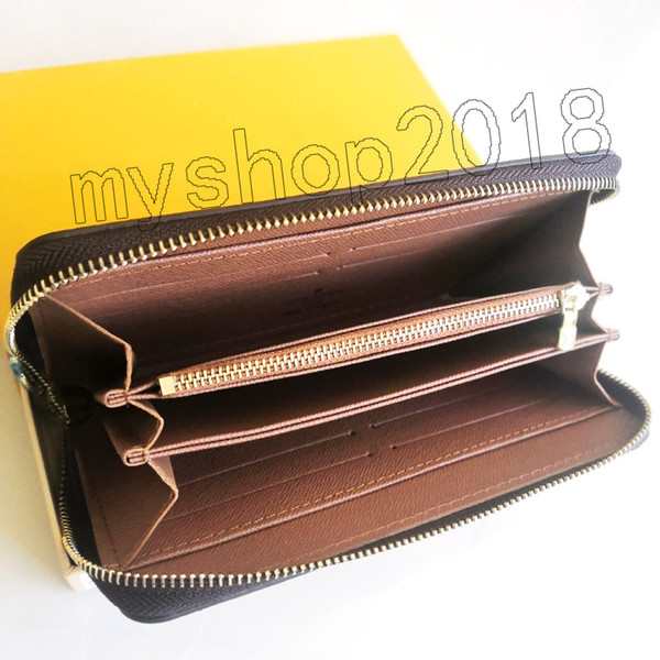 best selling fashion designer credit card holder high quality classic leather purse folded notes and receipts bag wallet purse distribution box purse