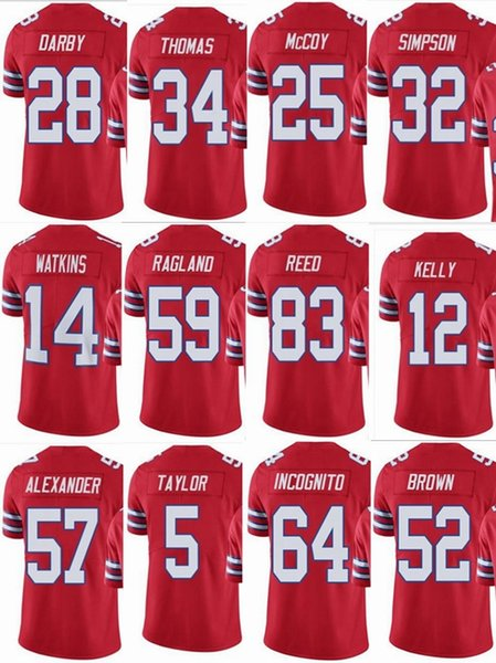 wholesale dealer 0558e e8681 2019 BILL Buffalo #25 LeSean McCoy #12 Jim Kelly #5 Tyrod Taylor #34  Thurman Thomas #83 Reed Men Women Youth Color Rush Elite Football Jerseys  From ...