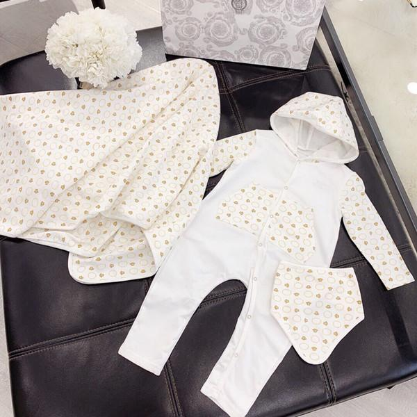 nuova primavera autunno cotone pagliaccetto neonato tuta + cappello + sciarpa 3pc / set ragazzo ragazze stampa maniche lunghe tute