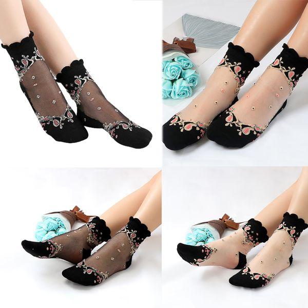 Hot Sale 2019 Elastic Socks Crystal Glass Silk Ultrathin Lace Literary Sale Summer Transparent Baroque Short Socks 20pairs/40pcs