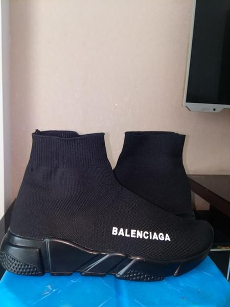 ohne Box! Speed Trainer Stiefel Socken Stretch-Knit High Top Trainer Schuhe Günstige Sneaker Schwarz Weiß Frau Mann Paare Schuhe Casual Stiefel