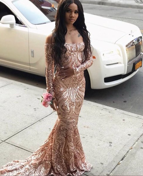 2019 Rose Gold Prom Dresses Off The Shoulder Long Sleeves Sequin Lace Sweep Train Long Evening Graduation Dress pageant Prom Gowns