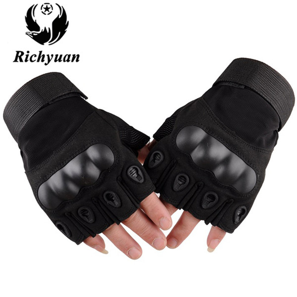Richyuan Tactical Guanti Army Paintball Shooting Carbon Hard Knuckle Mezza dita Guanti in pelle