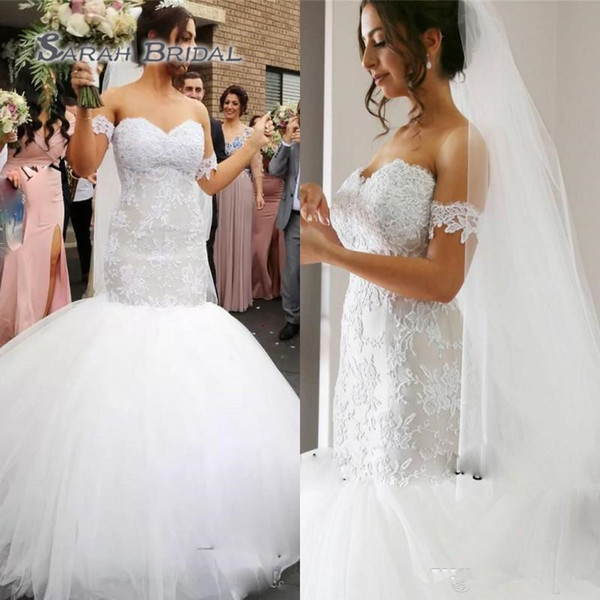 top popular 2020 Mermaid Wedding Dresses Lace Appliques Beach Bride Dress Cheap Tulle Sexy Bridal Gowns Plus Size African Party Wear 2020
