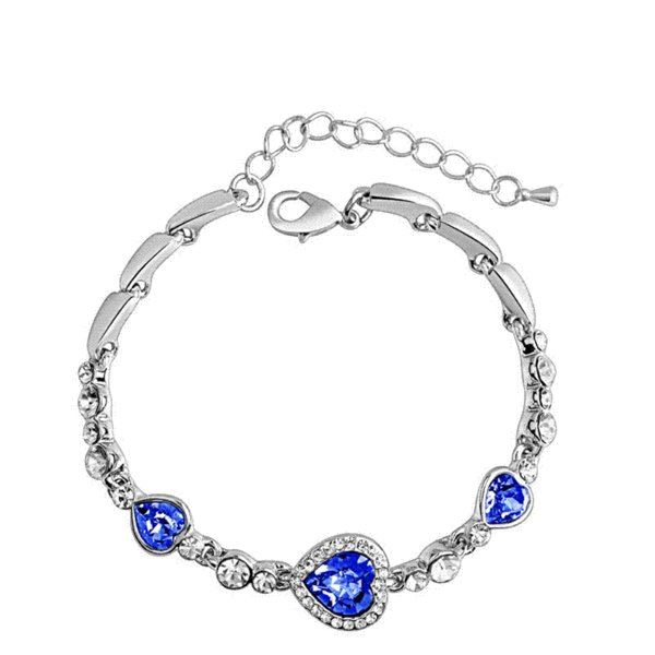 The New Listing Classic Ocean Heart Crystal Silver Fashion Bracelets Korean Jewelry Women's Gift Wholesale wholesale