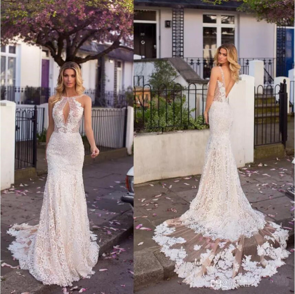 Romantic Full Lace Mermaid Wedding Dresses 2019 Gali Karten Champagne Underlay Appliques Low Backless Keyhole Neck Long Country Bridal Gowns Mermaid