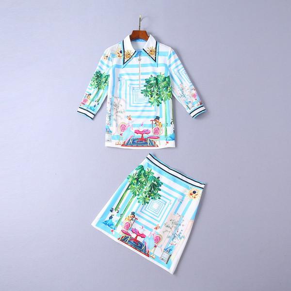Европейский и американский женская зимняя одежда 2018 новый ногтей бисера отворотом три четверти рукав рубашки + печатных юбка костюм