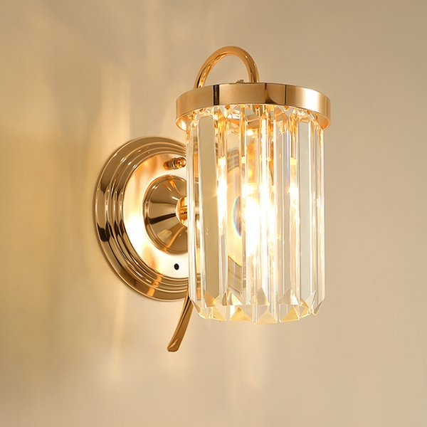 Modern crystal wall sconce lamp mirror lighting fixture decorative gold wall mount lights led wall lighting for bedside porch hallway