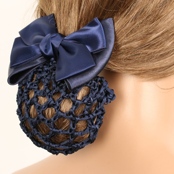 1pc Stylish Floral Lace Satin Bow Barrette Lady OL Hair Clip Cover Bowknot Bun Snood Headband Hairnet Women Hairgrips Clips