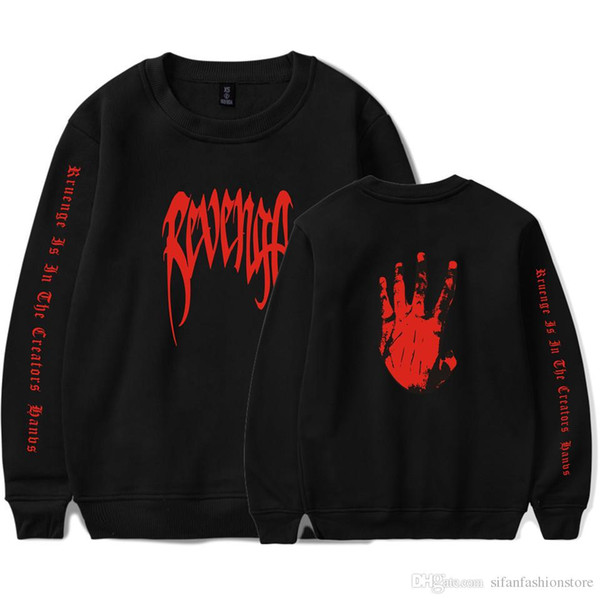 XXXTENTACION Rapper Comemorativo Pullover Camisola XXX VINGANÇA Carta Mãos Palma Imprimir Camisola Tshirt Homens Mulheres Design de Moda Hoodies
