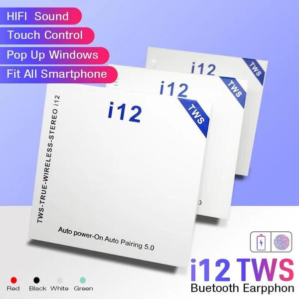 I12 TWS 5.0 무선 블루투스 헤드폰 이어폰을 지원하는 블루투스 다채로운 터치 제어 무선 헤드셋의 이어 버드 뜨거운 판매
