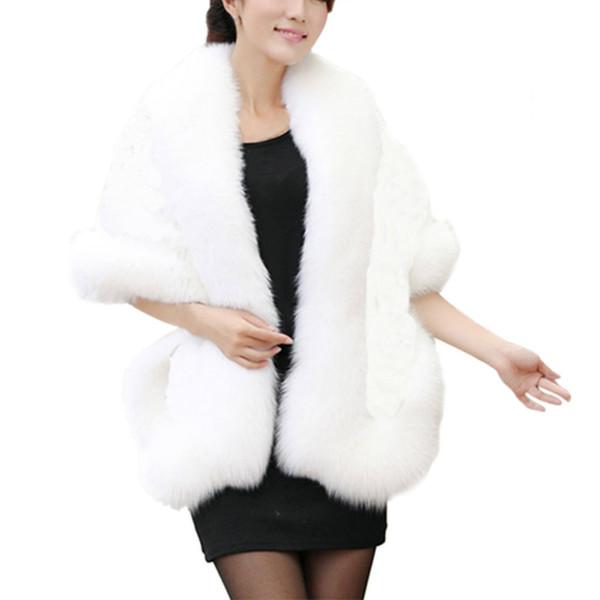 Women Bolero Bridal Shawl Faux Fur Wrap Bolero Wedding Cape Bridal Shawl Fur Cape Winter Ivory Cloak