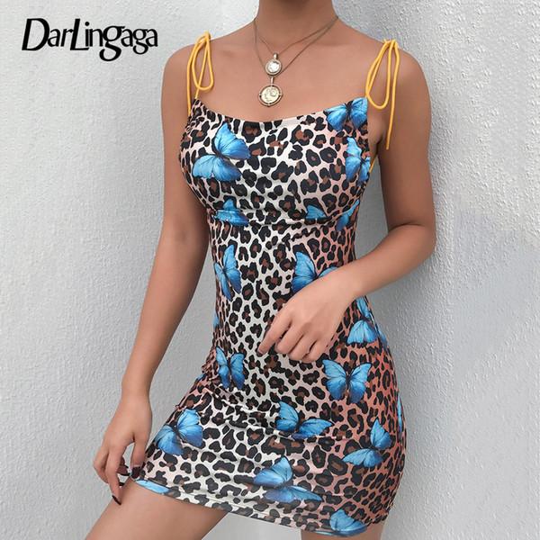 Darlingaga backless Schmetterlingsleoparddrucksommerkleidminibügel beiläufiges Kleid Sommerkleid schnüren sich sexy Kleider für Frauen vestido